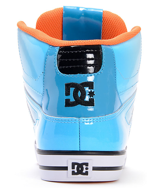 DC Spartan Hi Black, Turquoise & White Patent Leather Skate Shoes