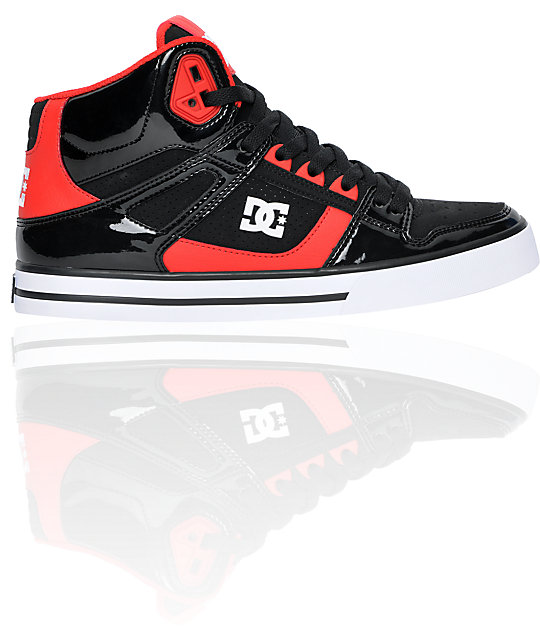 DC Spartan Hi Black Patent & Red Leather Skate Shoes
