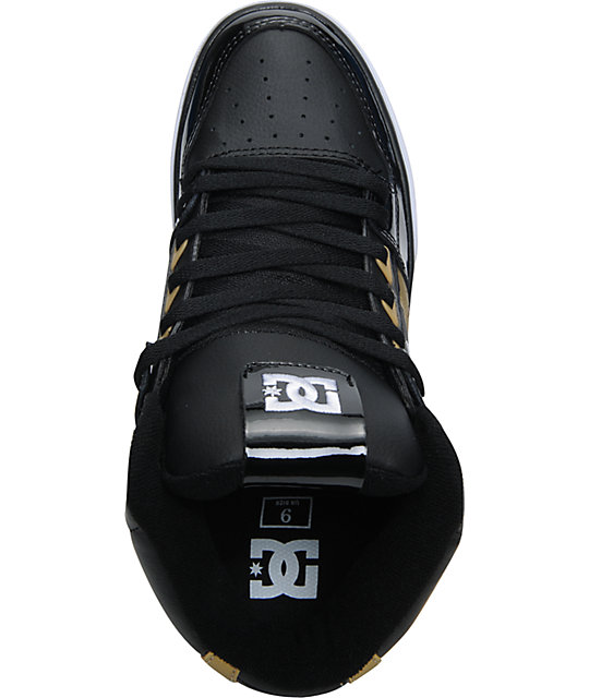 DC Spartan Hi Metallic Gold & Black Skate Shoes