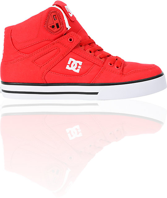 DC Spartan Hi TX Red Canvas Skate Shoes