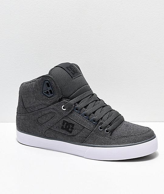 DC Spartan Hi TX SE Grey   White Canvas High Top Skate Shoes  e83f05d3d761
