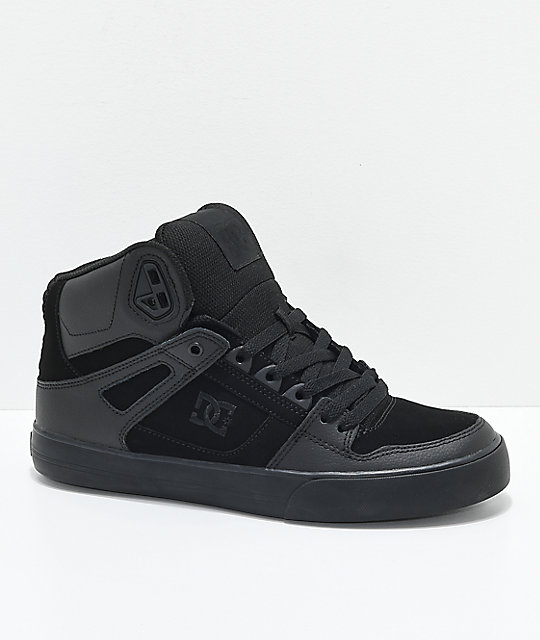 DC Spartan Hi WC All Black Skate Shoes