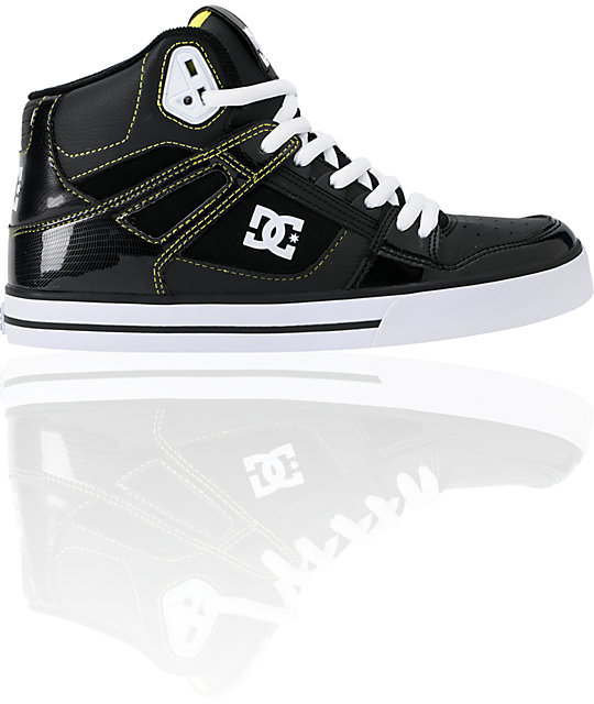 DC Spartan Hi WC Black Patent Leather & Yellow Skate Shoes