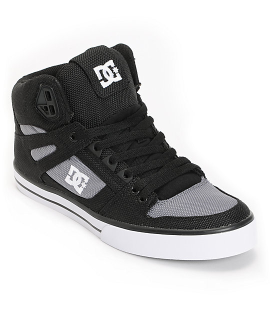 DC Spartan Hi WC TX Black & Grey Canvas Skate Shoes