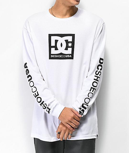 DC Square Star camiseta blanca de manga larga ... 89ed9dfdd56d4