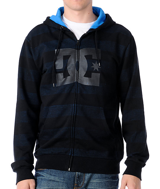 DC Timing Blue & Black Stripe Zip Up Hoodie