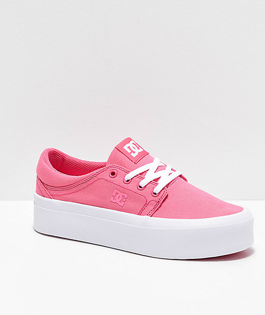 store highly coveted range of limpid in sight DC Trase TX Platform Pink & White Shoes