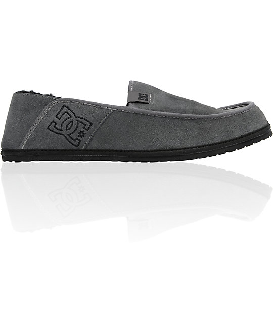 DC Villain Grey Suede Slippers