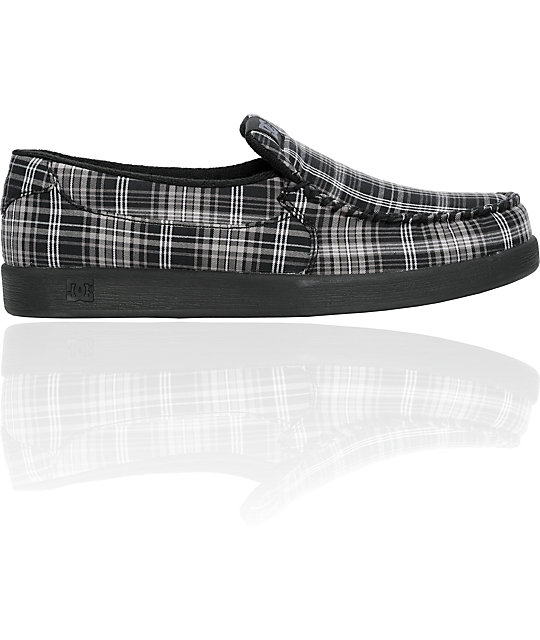 DC Villain TX Black & Plaid Slippers