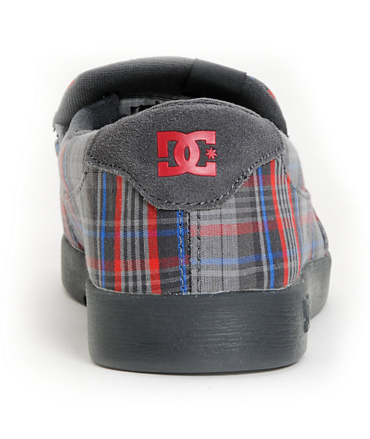 DC Villain TX Dark Shadow Grey & Red & Blue Plaid Slippers