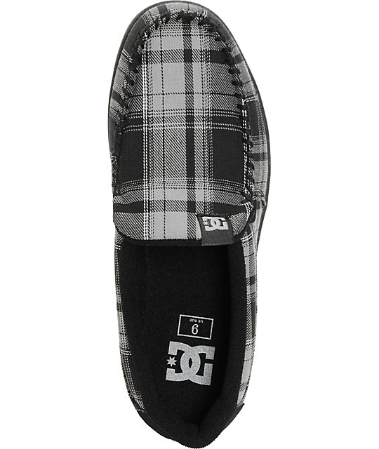 DC Villain TX Grey & Black Plaid Slippers