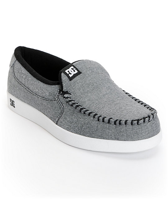 DC Villain TX Light Grey Chambray Slippers