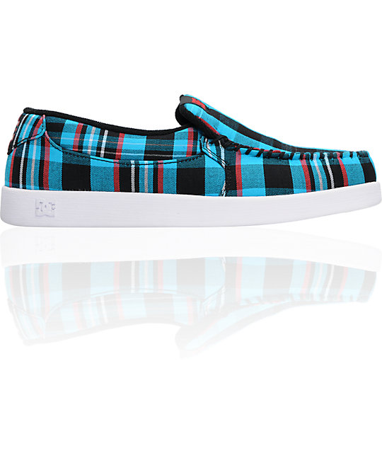 DC Villain TX Turquoise & Black Plaid Slippers