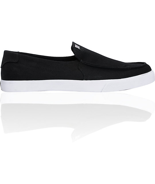 DC Villain Vulc TX Black & White Slip-On Shoes