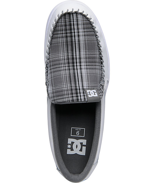 DC Villain White & Battleship Plaid Suede Shoes