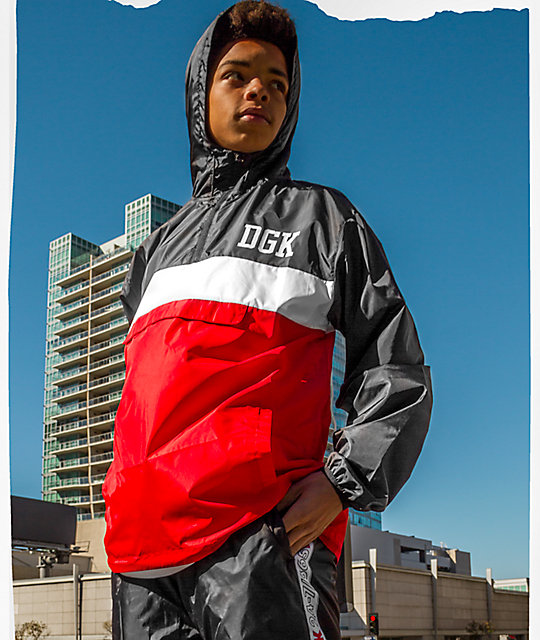 DGK Blocked Red & Black Windbreaker Jacket