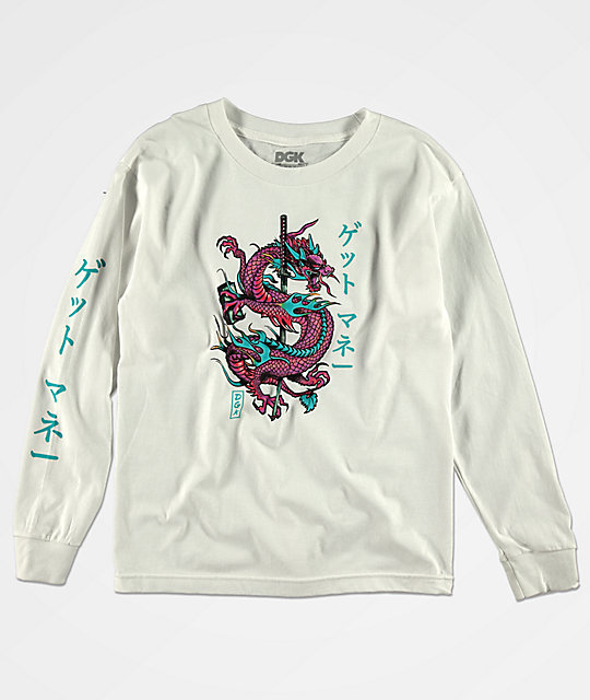 DGK Boys Get Money Dragon White Long Sleeve T-Shirt