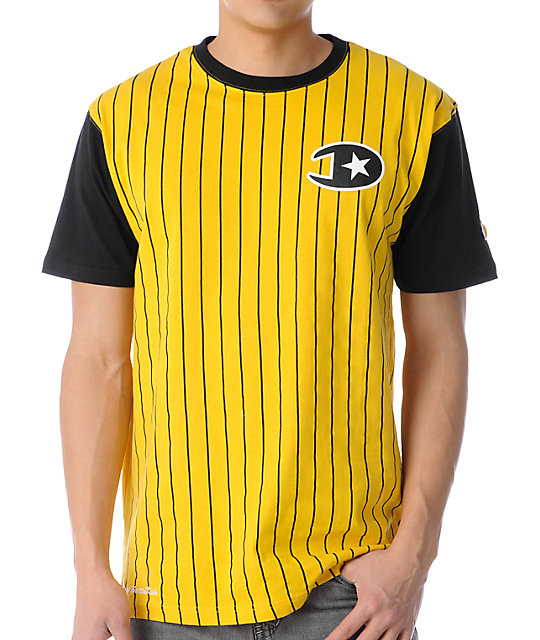 DGK Champs Pin Stripe Crew Yellow T-Shirt