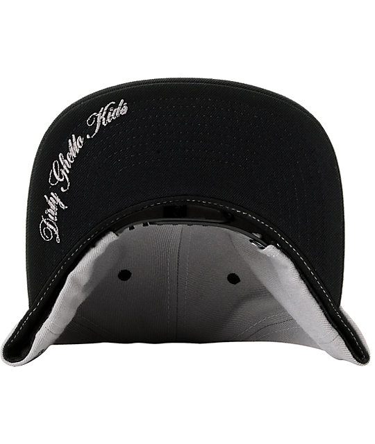 DGK Cursive Grey & Black Snapback Hat
