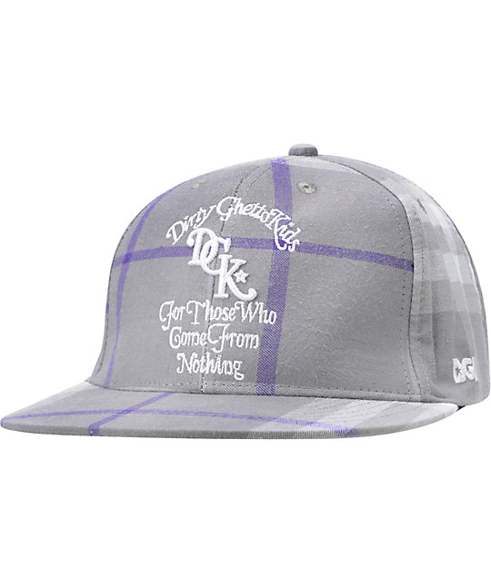 DGK From Nothing Grey Plaid Snapback Hat