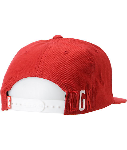 DGK G Red & White Snapback Hat