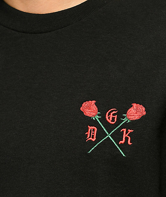 DGK Growth Embroidered Rose Black T-Shirt