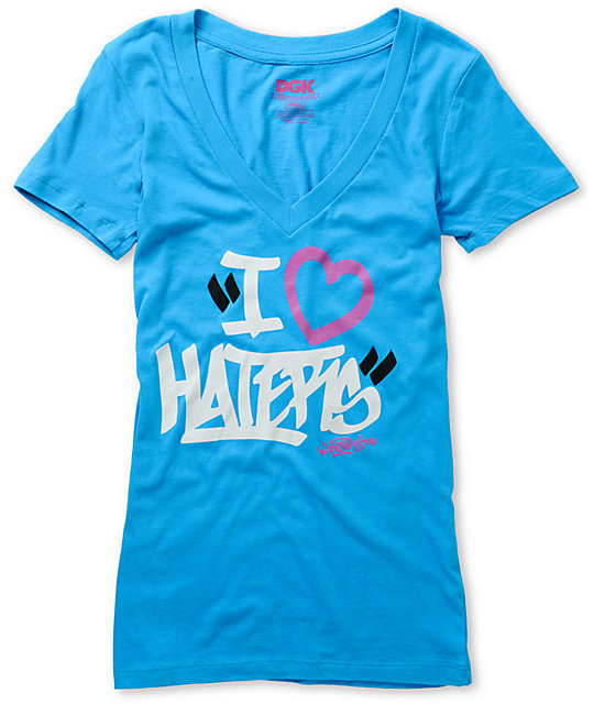 DGK Haters Tag Motivation Turquoise V-Neck T-Shirt