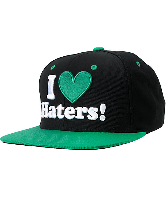 DGK I Love Haters Black & Green Snapback Hat