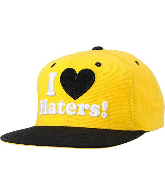 5994e42b8 DGK I Love Haters Black & Yellow Snapback Hat | Zumiez