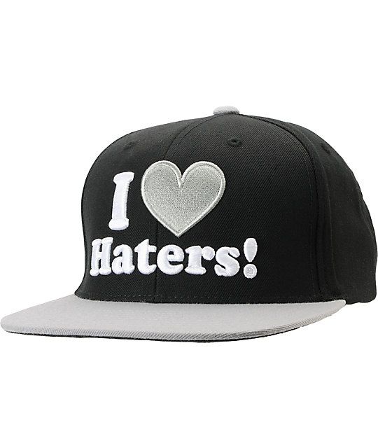 DGK I Love Haters Black Grey Snapback Hat