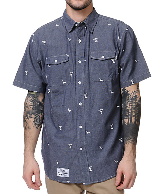 DGK Iconic Light Blue Short Sleeve Button Up Shirt