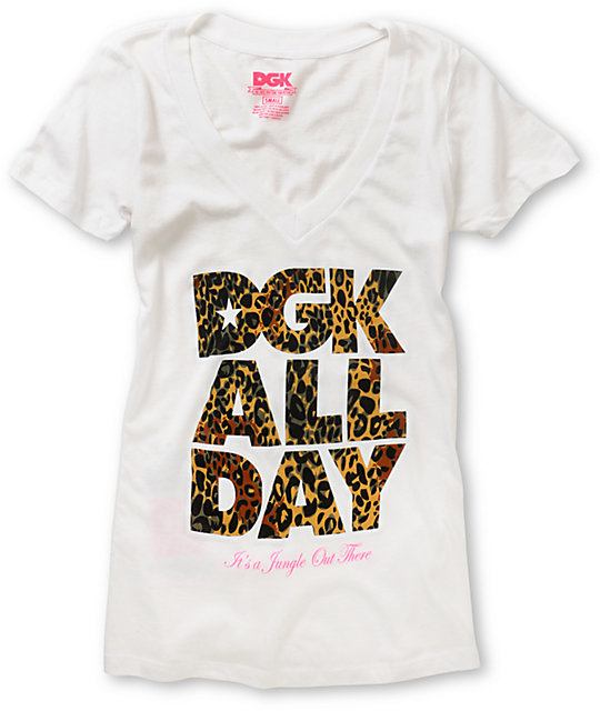 DGK Jungle White V-Neck T-Shirt