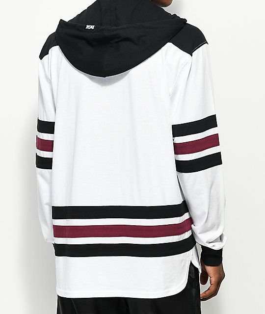 DGK Penalty White, Black & Burgundy Hooded Long Sleeve T-Shirt