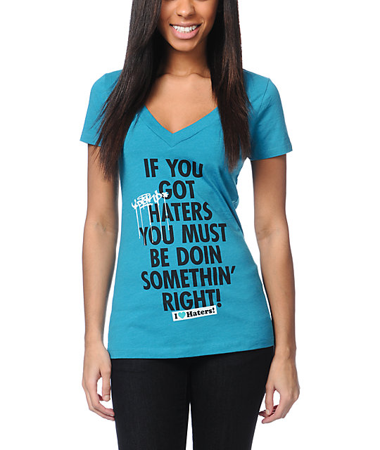 DGK Say Something Turquoise V-Neck T-Shirt
