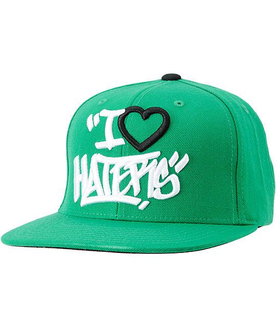 f8014821df5 DGK Tag I Love Haters Green Snapback Hat
