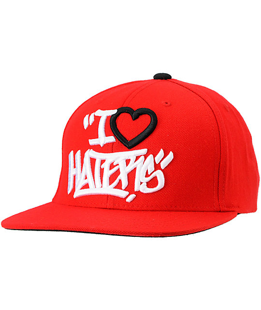 DGK Tag I Love Haters Red Snapback Hat