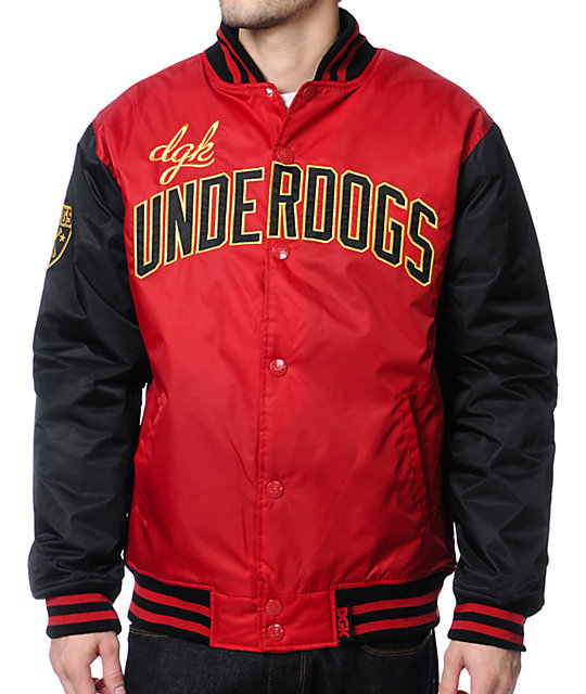 DGK Underdog Black & Red Varsity Jacket