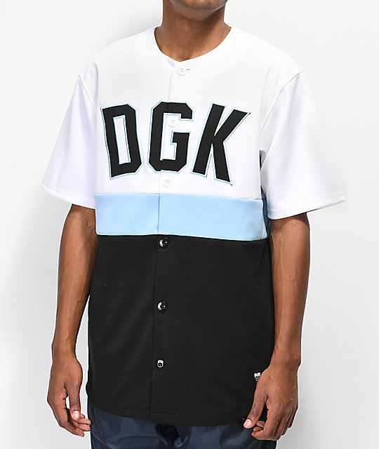 DGK White, Mint Blue & Black Baseball Jersey