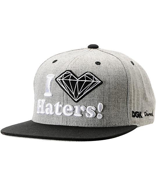 0a19a5b53dbaf DGK x Diamond Supply Co. I Heart Haters Grey Snapback Hat