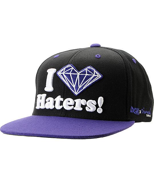 1121414da835c DGK x Diamond Supply Co. I Heart Haters Purple Snapback Hat