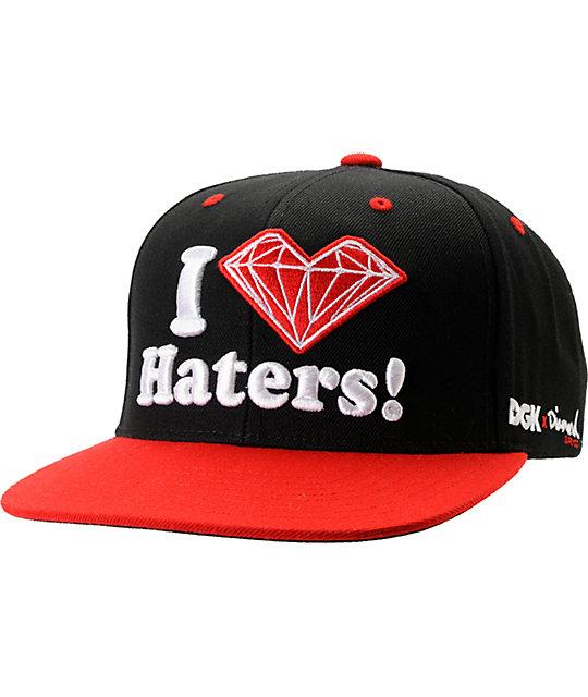 dgk x diamond supply co i heart haters red snapback hat