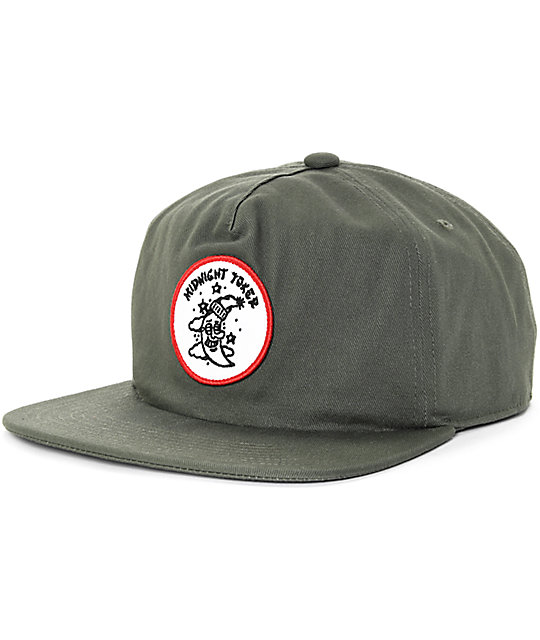 9159fc9a40652 DROPOUT CLUB INTL X Kyle Grand Midnight Toker Olive Green Snapback Hat