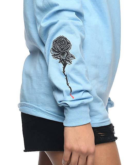 DROPOUT CLUB INTL. Rose Blue Long Sleeve T-Shirt