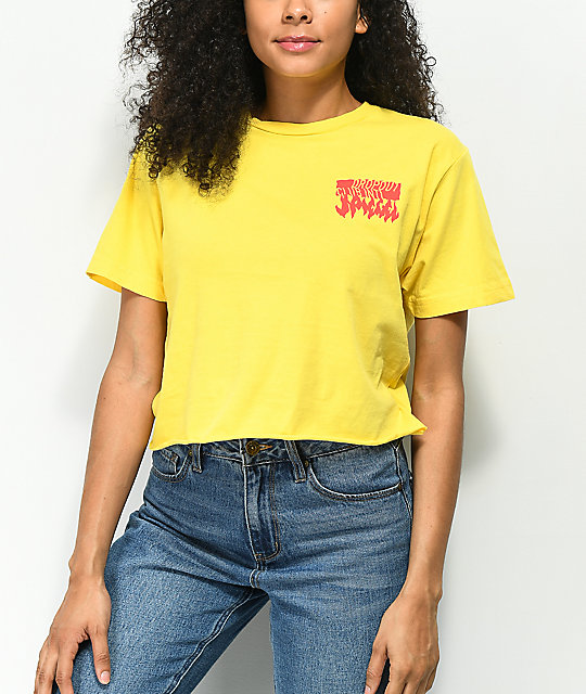 DROPOUT CLUB INTL. Spiegel Weave Gold Crop T-Shirt