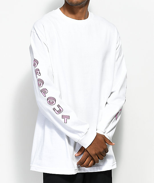 DROPOUT CLUB INTL. TV White Long Sleeve T-Shirt