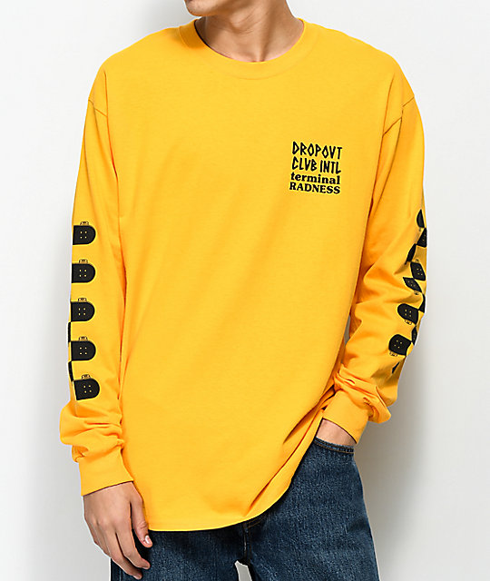 DROPOUT CLUB INTL. Whatever Yellow Long Sleeve T-Shirt