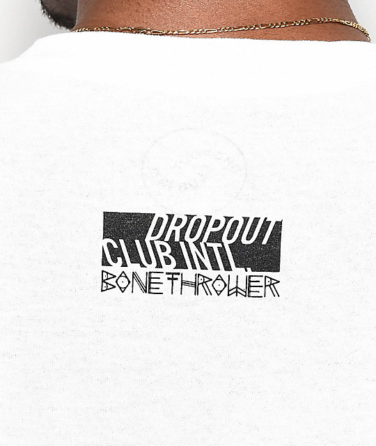 DROPOUT CLUB INTL. x Bonethrower Tune In White T-Shirt