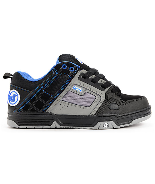 DVS Comanche Black, Grey & Blue Skate Shoes