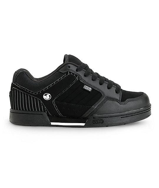 dca471cd938 DVS Transom Black Nubuck Pin Stripe Skate Shoes
