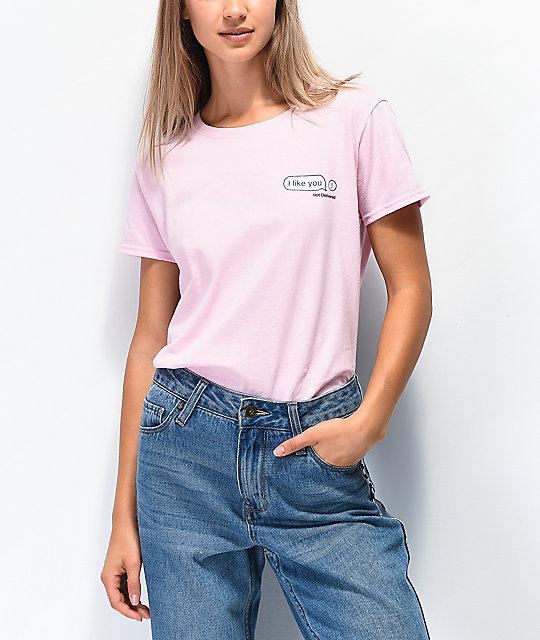 Daisy Street I Like You Text Pink T-Shirt